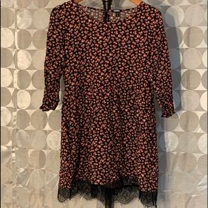 Flower Print w/ Lace Dress